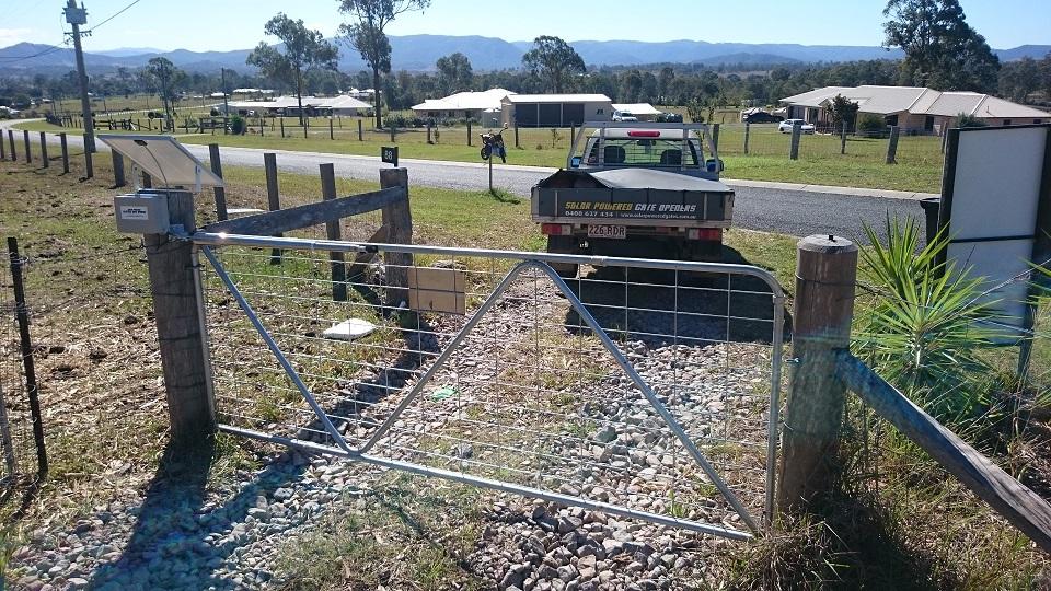 Solar heavy duty single swing gate opener kit installed